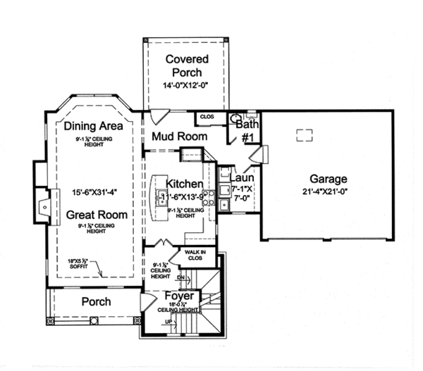 Traditional Floor Plan - Main Floor Plan Plan #46-846