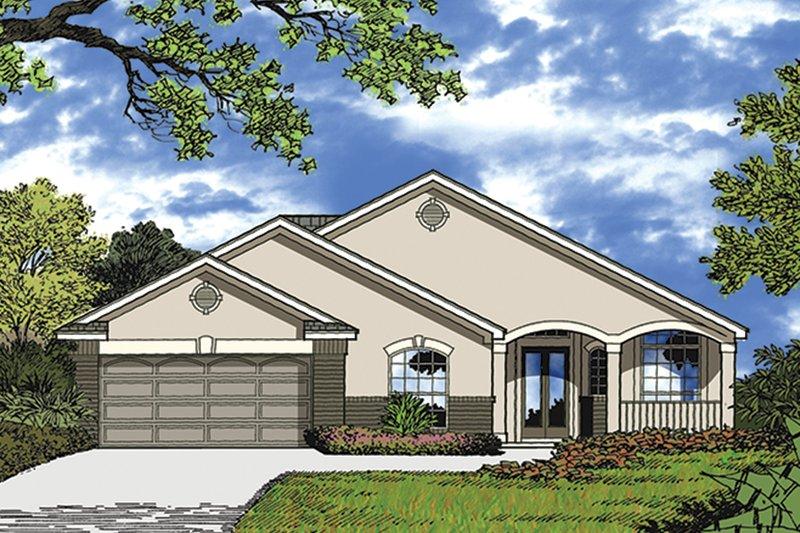 Architectural House Design - Mediterranean Exterior - Front Elevation Plan #417-853