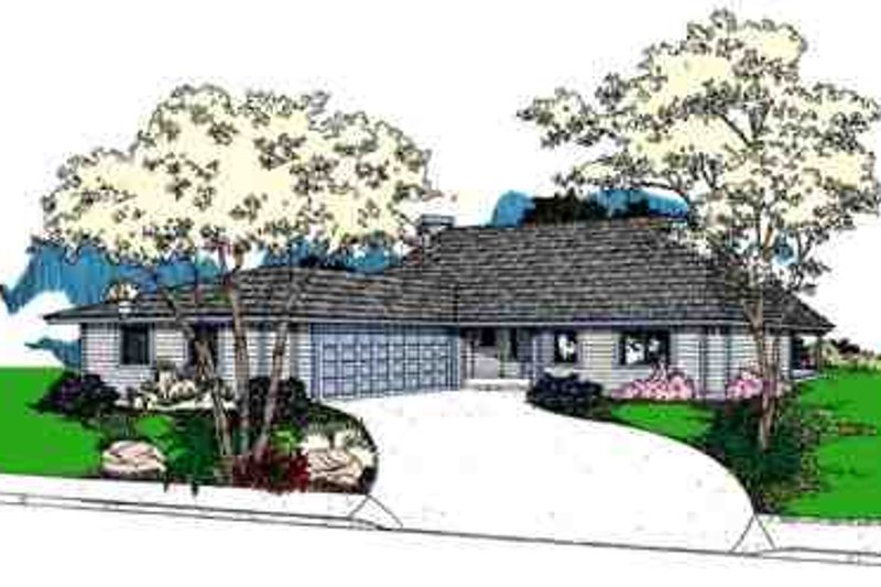 Ranch Style House Plan - 2 Beds 2 Baths 1473 Sq/Ft Plan #60-622 Exterior - Front Elevation