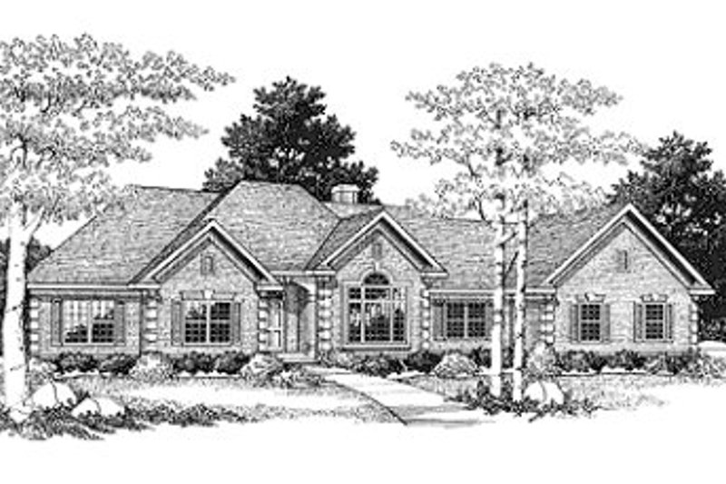 Modern Style House Plan - 3 Beds 2 Baths 2790 Sq/Ft Plan #70-445 Exterior - Front Elevation