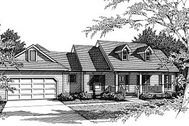 Country Style House Plan - 3 Beds 2 Baths 1654 Sq/Ft Plan #14-121 Exterior - Front Elevation