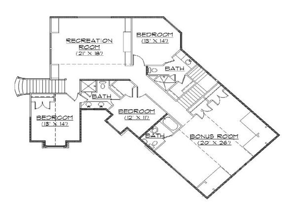 Colonial Floor Plan - Upper Floor Plan #5-446