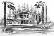 Modern Style House Plan - 4 Beds 2 Baths 1536 Sq/Ft Plan #72-350 Exterior - Front Elevation