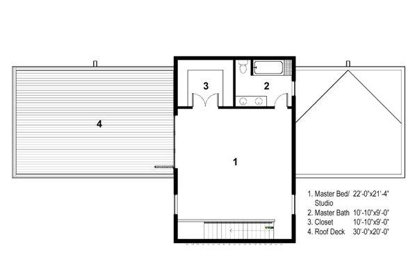 Modern Floor Plan - Upper Floor Plan Plan #497-28