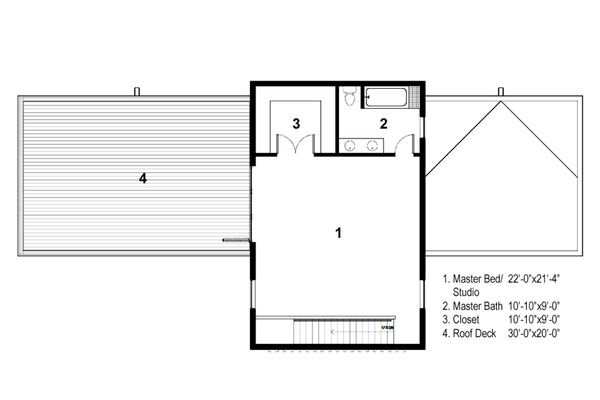 Modern Floor Plan - Upper Floor Plan Plan #497-28
