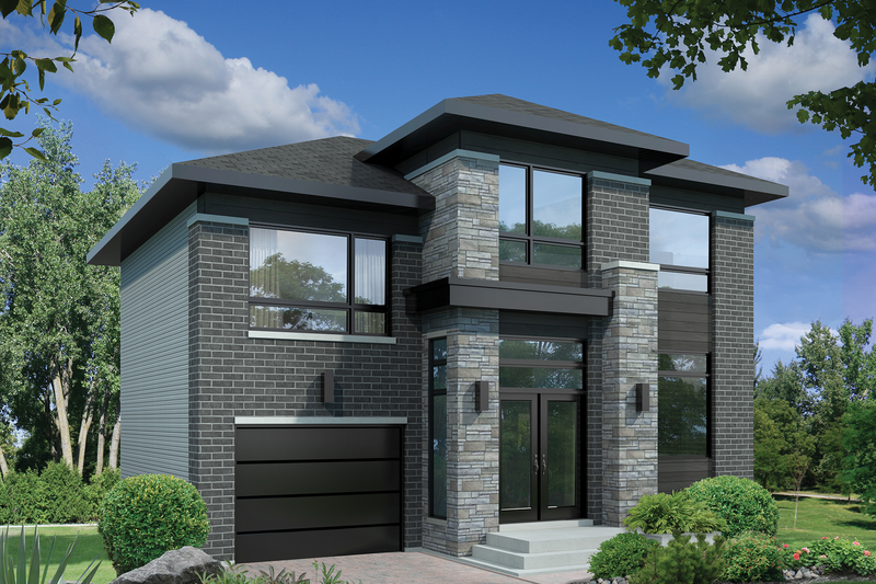Contemporary Style House Plan - 3 Beds 1 Baths 1831 Sq/Ft Plan #25-4498 Exterior - Front Elevation