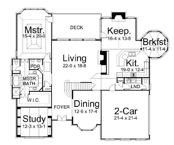 European Floor Plan - Main Floor Plan Plan #119-269