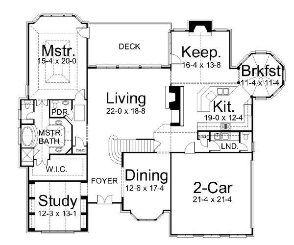 European Floor Plan - Main Floor Plan Plan #119-269