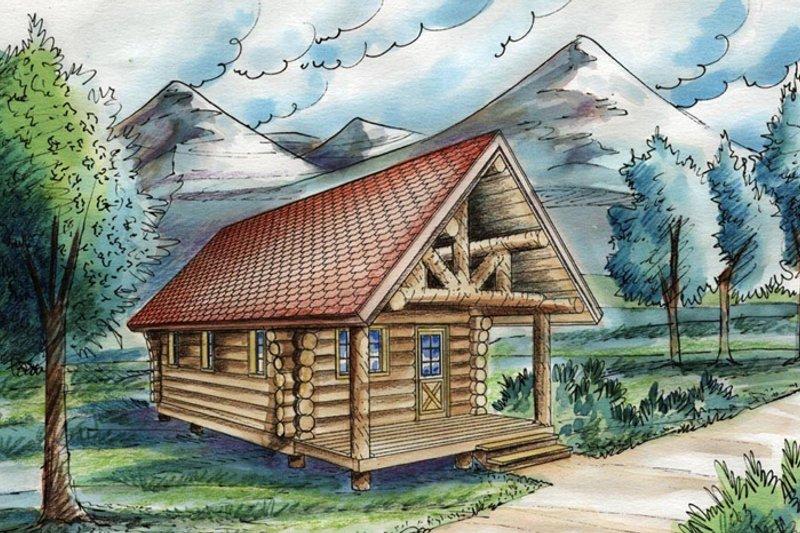 Log Exterior - Front Elevation Plan #117-828 - Houseplans.com
