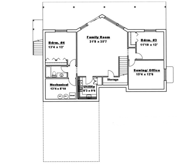 Ranch Floor Plan - Lower Floor Plan Plan #117-833
