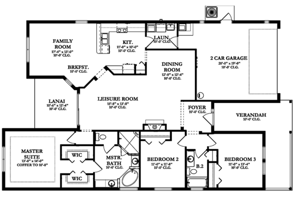 Colonial Floor Plan - Main Floor Plan Plan #1058-143