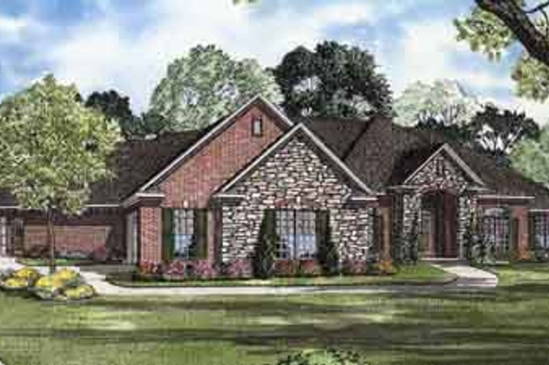 Traditional Style House Plan - 3 Beds 4.5 Baths 3342 Sq/Ft Plan #17-2122 Exterior - Front Elevation
