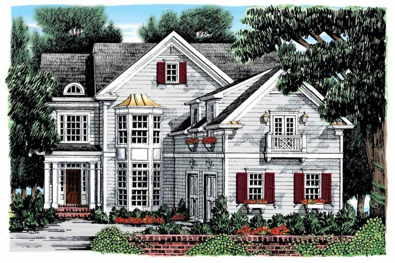 Colonial Exterior - Front Elevation Plan #927-895
