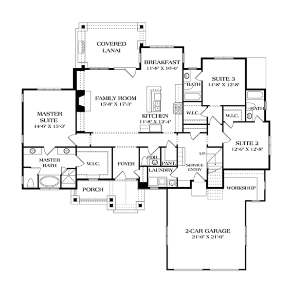 Craftsman Floor Plan - Main Floor Plan Plan #453-615