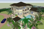 Mediterranean Style House Plan - 4 Beds 4.5 Baths 6838 Sq/Ft Plan #548-22 Exterior - Other Elevation