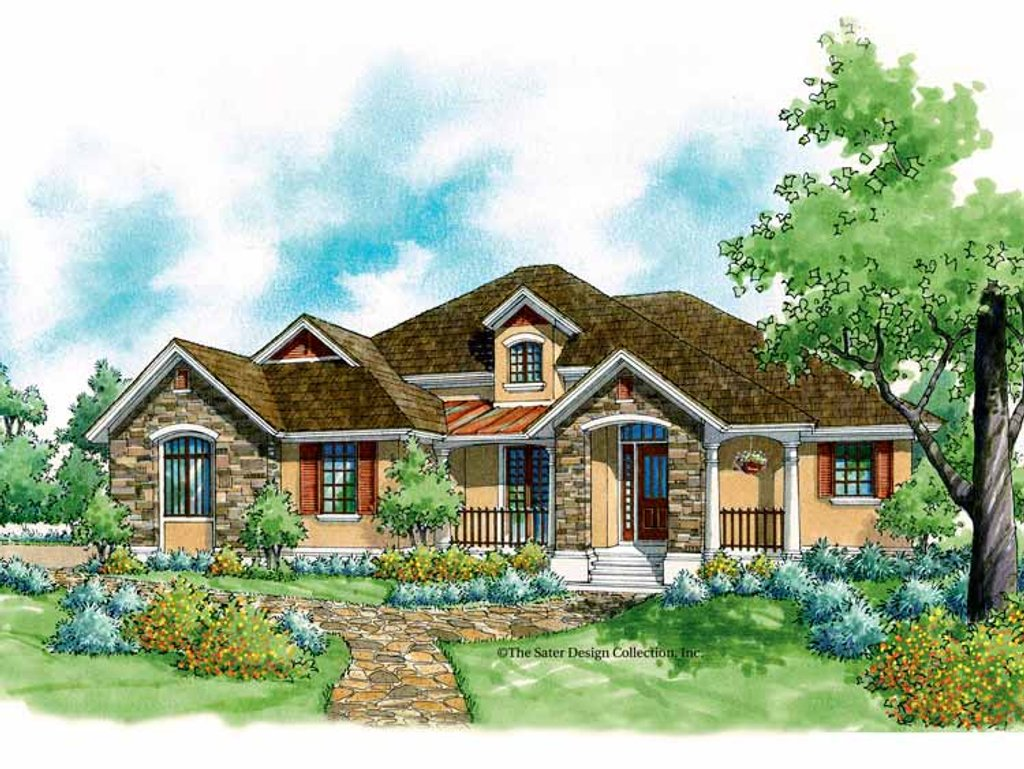 The Sater Design Collection country style house plan - 3 beds 2 baths 1848 sq/ft plan #930-186