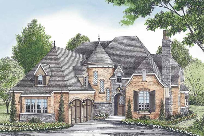 European Exterior - Front Elevation Plan #453-580 - Houseplans.com