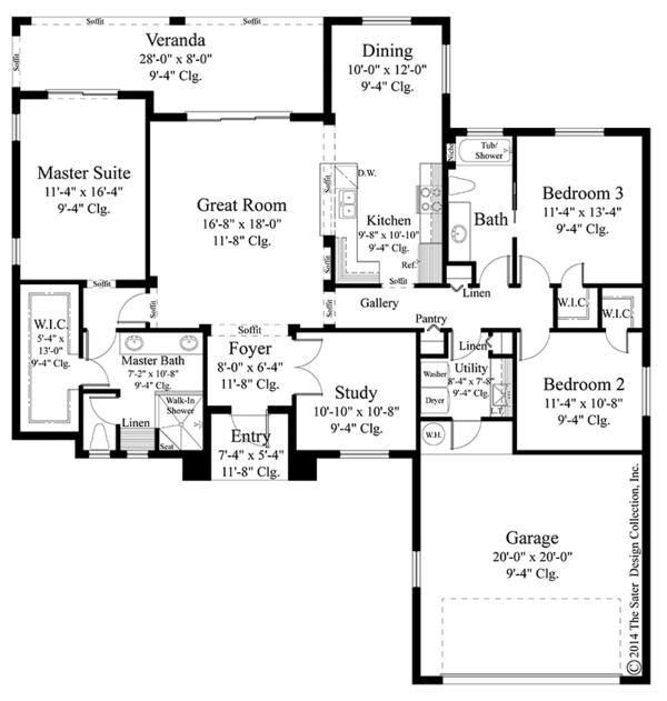Mediterranean Floor Plan - Main Floor Plan Plan #930-452