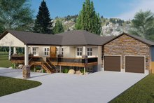 Architectural House Design - Ranch Exterior - Covered Porch Plan #1060-21