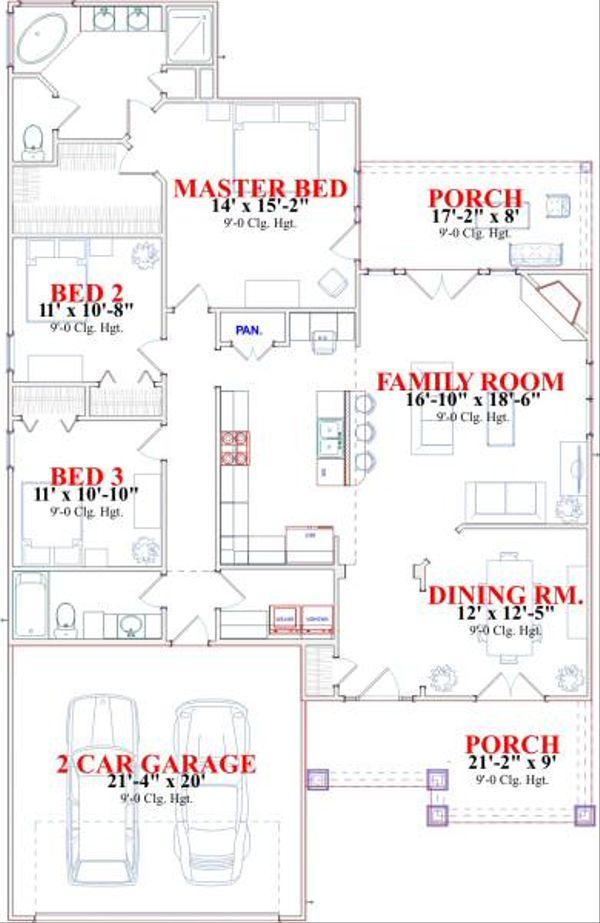 Cottage Floor Plan - Main Floor Plan Plan #63-134