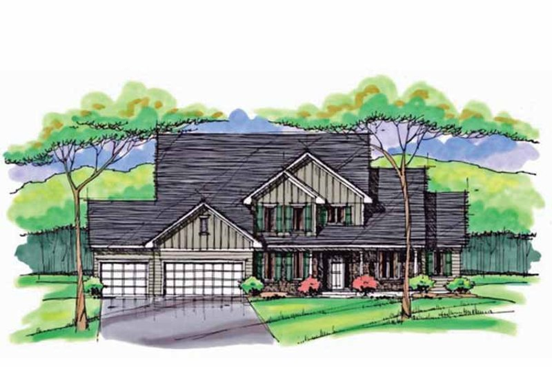 Architectural House Design - Colonial Exterior - Front Elevation Plan #51-1037