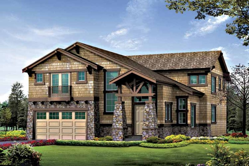 Architectural House Design - Craftsman Exterior - Front Elevation Plan #132-414