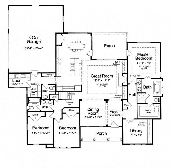 Craftsman Floor Plan - Main Floor Plan Plan #46-838