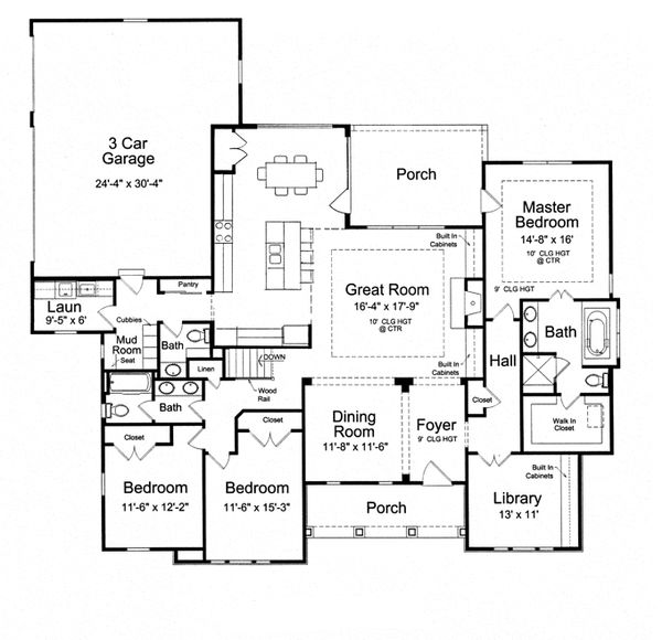 Craftsman Floor Plan - Main Floor Plan Plan #46-838