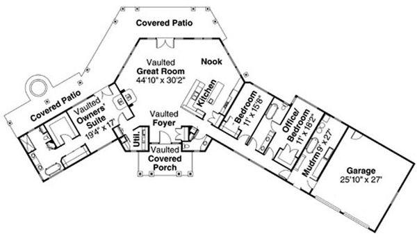 Craftsman Floor Plan - Main Floor Plan Plan #124-731