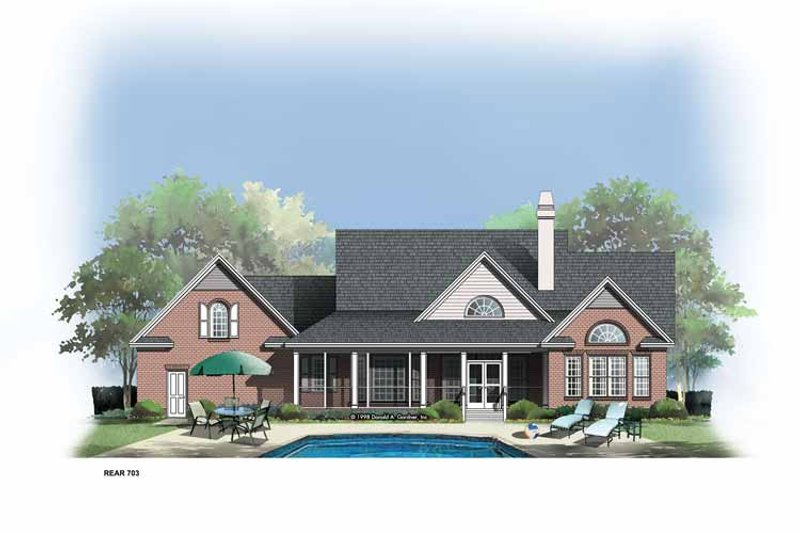 Country Exterior - Rear Elevation Plan #929-308