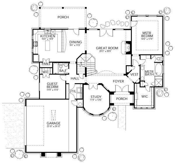 European Floor Plan - Main Floor Plan Plan #80-168
