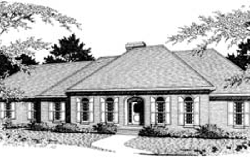 European Style House Plan - 4 Beds 3.5 Baths 3455 Sq/Ft Plan #10-223 Exterior - Front Elevation