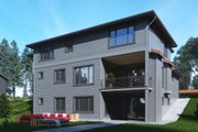 Contemporary Style House Plan - 5 Beds 4.5 Baths 4481 Sq/Ft Plan #1066-63 Exterior - Rear Elevation