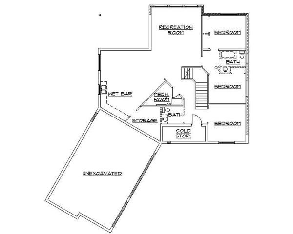 Country Floor Plan - Lower Floor Plan Plan #5-367