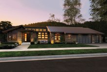 House Plan Design - Front View - 3300 square foot Modern home