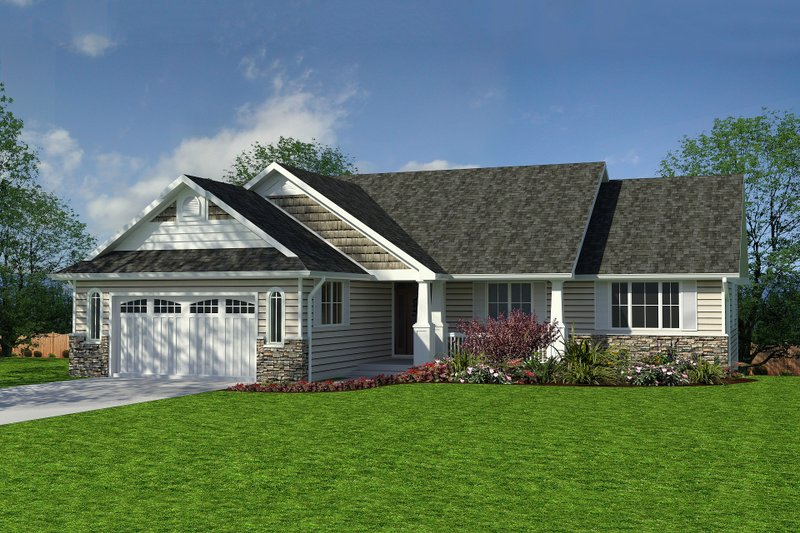 Home Plan - Craftsman style, Ranch Design, front elevation