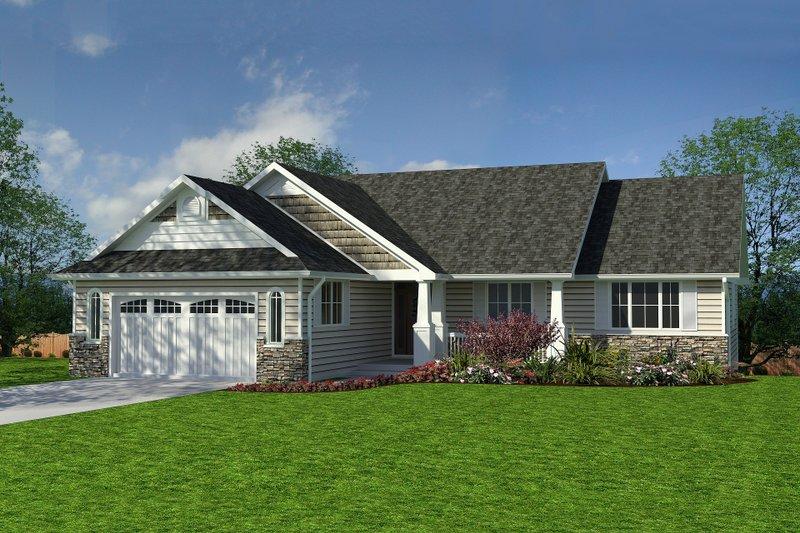 House Blueprint - Craftsman style, Ranch Design, front elevation