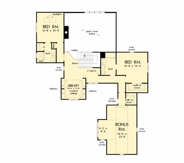 Country Floor Plan - Upper Floor Plan #929-1060