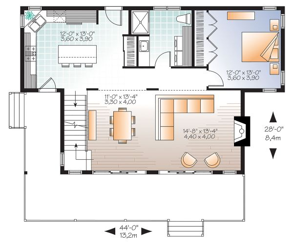 House Plan Design - Cottage Floor Plan - Main Floor Plan #23-2711