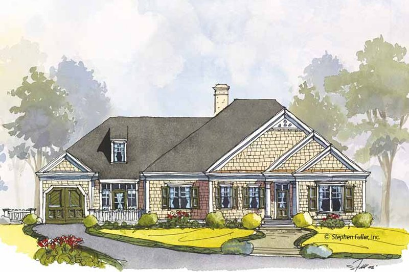 Colonial Exterior - Front Elevation Plan #429-439