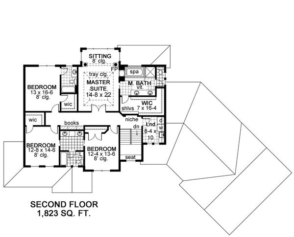 Craftsman Floor Plan - Upper Floor Plan Plan #51-464