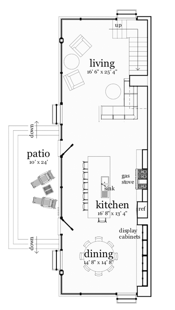 Contemporary Floor Plan - Main Floor Plan Plan #64-315