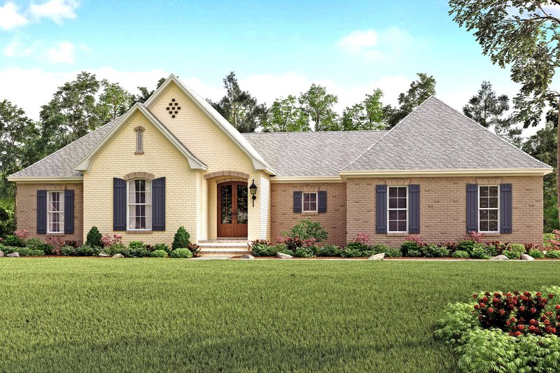 European Style House Plan - 4 Beds 2 Baths 2141 Sq/Ft Plan #430-125 Exterior - Front Elevation