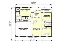 Southern Floor Plan - Main Floor Plan Plan #44-133