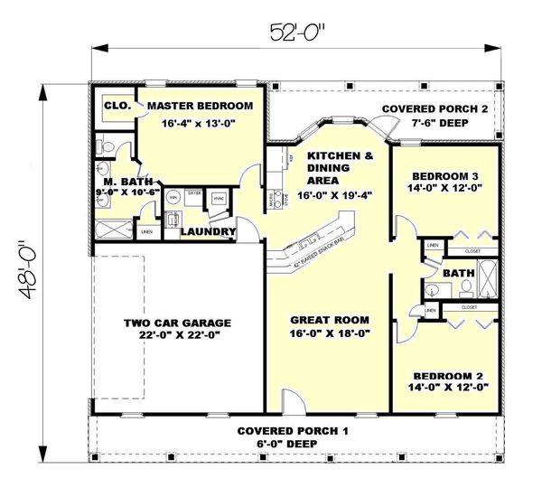 House Plan Design - Southern Floor Plan - Main Floor Plan #44-133