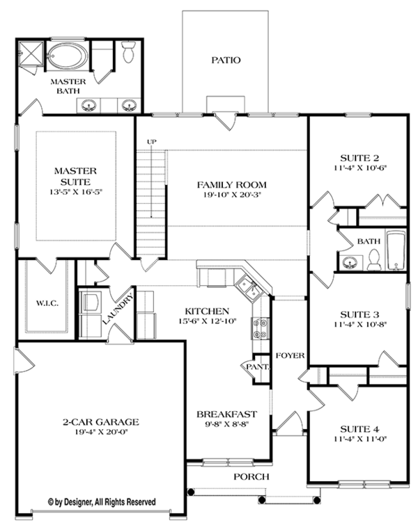 Ranch Floor Plan - Main Floor Plan Plan #453-632