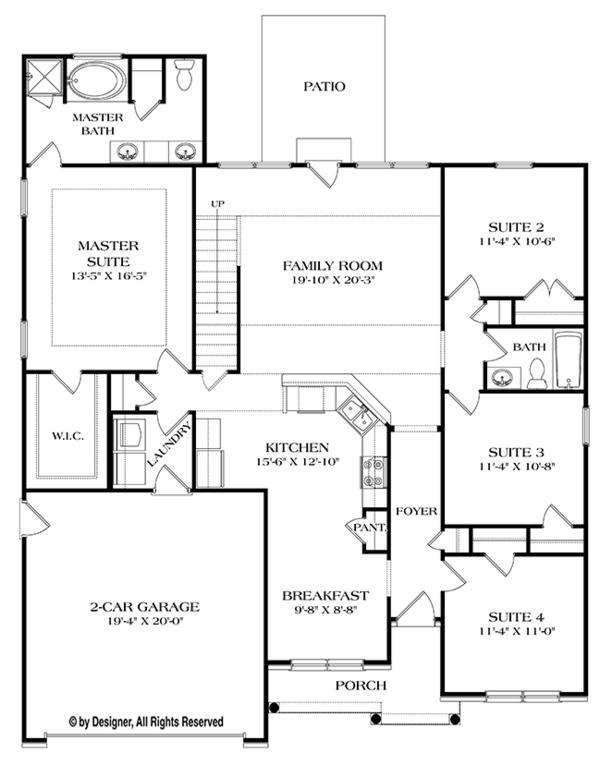 House Plan Design - Ranch Floor Plan - Main Floor Plan #453-632