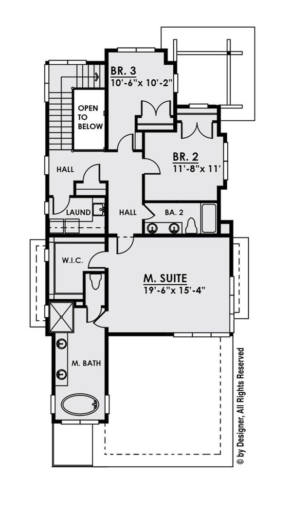 Contemporary Floor Plan - Upper Floor Plan Plan #1066-33
