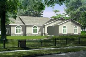 Colonial Exterior - Front Elevation Plan #1-1422