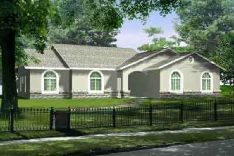 Colonial Style House Plan - 4 Beds 2 Baths 2038 Sq/Ft Plan #1-1422 Exterior - Front Elevation
